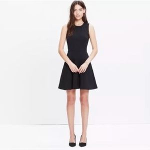 Madewell Lace Inset Anywhere Fit Flare Black Dress